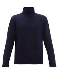 The Gigi Julien Striped Roll Neck Wool Sweater Navy