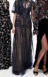 Monique Lhuillier V Neck Embroidered Gown Navy
