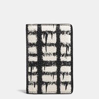 Coach Card Wallet In Pebble Leather With Wild Plaid Print Wild Plaid Soft White Black