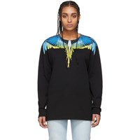 Marcelo Burlon County Of Milan Black And Yellow Wings Long Sleeve T Shirt