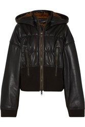 Haider Ackermann Ruched Leather And Cotton Blend Jacket Black