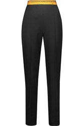 Moschino Pleated Printed Wool Blend Tapered Pants Black