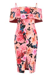 Dorothy Perkins Floral Cocktail Dress Party Dress Peach Rose