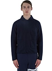 Thom Browne Bal Collared Wool Boucle Jacket Navy
