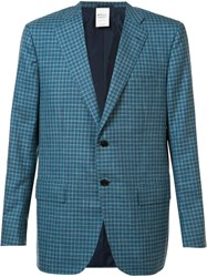 Kiton Plaid Blazer Blue