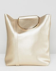 Yoki Fashion D Ring Tote Bag With Shoulder Strap In Pearlised Gold