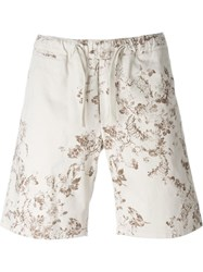 Eleventy Distressed Floral Print Shorts Nude And Neutrals