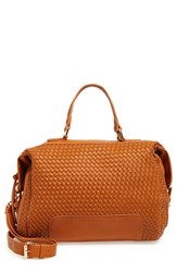Sole Society Woven Faux Leather Satchel Brown Cognac
