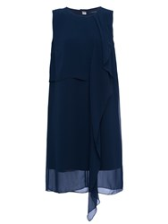 French Connection James Sheer Fluted Dress Utility Blue
