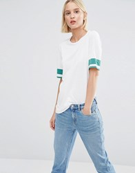 Weekday T Shirt With Stripe Sleeve White Green Contrast