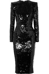 Alex Perry Sequined Crepe Dress Black