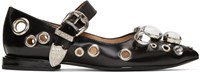 Toga Pulla Black Single Buckle Ballerina Flats