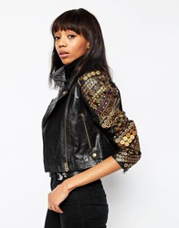 Asos Premium Leather Biker With Coin Embellishment Black