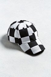 Urban Outfitters Uo Checkered Dad Hat Black White