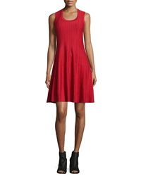 Nic Zoe Twirl Sleeveless Knit Dress Red Petite