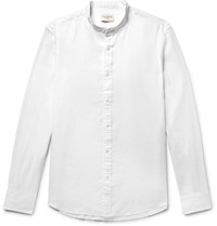 Club Monaco Slim Fit Grandad Collar Slub Linen Shirt White