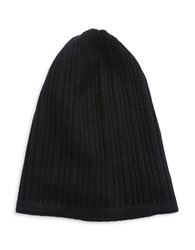 Lord And Taylor Knit Cashmere Slouchy Hat Black
