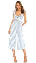 Bcbgeneration Ruffle Sleeve Jumpsuit In White. Sky Blue
