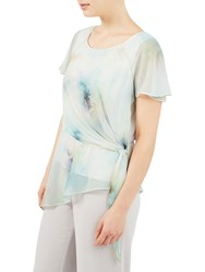 Jacques Vert Printed Soft Tie Top Green Multi