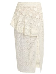 Stella Mccartney Asymmetric Ruffle Lace Midi Skirt Ivory
