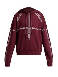 The Upside Phoenix Embroidered Cotton Sweatshirt Burgundy White