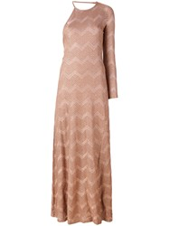 M Missoni Long Jersey Dress Women Silk Cotton Polyamide Metallic Fibre Xs Nude Neutrals