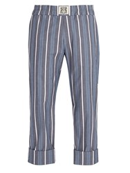 Connolly Striped Cotton Blend Trousers Blue