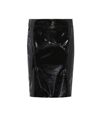 Tom Ford Suede Trimmed Patent Leather Skirt Black