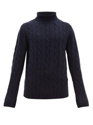 Thom Sweeney Cable Knit Roll Neck Cashmere Sweater Navy