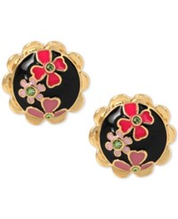 Betsey Johnson Gold Tone Colorful Flower Black Enamel Button Stud Earrings