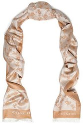 Coach Silk And Wool Blend Jacquard Scarf Sand