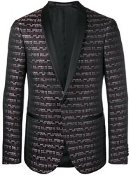 Pal Zileri Striped Jacquard Blazer Black