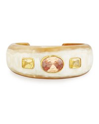 Ashley Pittman Uhuni Light Horn And Crystal Cuff Bracelet