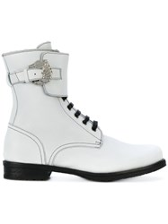 Dorateymur Combat Boots Leather Rubber White