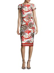 Eci Raglan Sleeve Paisley Dress Red Combo