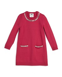 Milly Minis Embellished Long Sleeve Sweaterdress Raspberry
