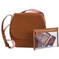 Stow Robyn Crossbody Saddle Bag And See View Travel Pouch Gift Setno Personalisation Brown