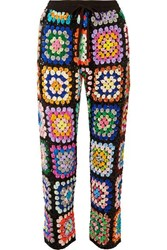 Ashish Cropped Sequined Georgette Pants Black