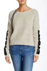 Sisters Faux Leather Trim Sweater Multi