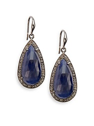 Bavna Sapphire Champagne Diamond And Sterling Silver Teardrop Earrings Silver Blue