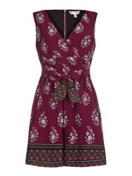 Yumi Burgundy Floral Dress With Contrast Hem Maroon