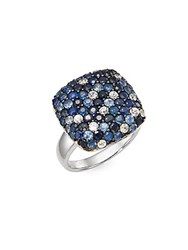 Effy Sapphire And Sterling Silver Pave Ring Blue