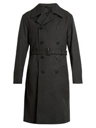 Jil Sander Double Breasted Checked Trench Coat Grey Multi