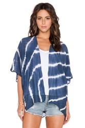 Velvet By Graham And Spencer Fatima Tie Dye Silk Cotton Voile Kimono Blue