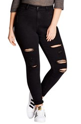 City Chic Plus Size Women's Rock 'N' Roll Destroyed Skinny Jeans Black