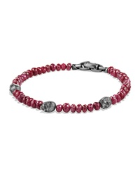 Men's Ruby Beaded Skull Station Bracelet David Yurman