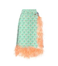 Prada Feather Trimmed Skirt Multicoloured