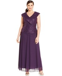 Patra Plus Size Cap Sleeve Sequined Lace Gown Plum