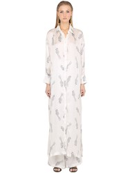 Ma'an Fishes Printed Silk Satin Shirt Dress