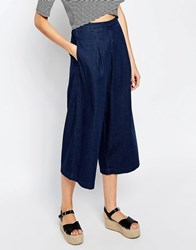 Warehouse Denim Culotte Dark Wash Navy